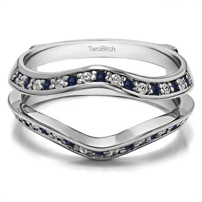 0.34 Ct. Sapphire and Diamond Open Knife Edge Wedding ring guard