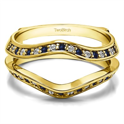 0.34 Ct. Sapphire and Diamond Open Knife Edge Wedding ring guard in Yellow Gold