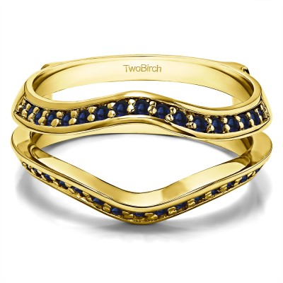 0.34 Ct. Sapphire Open Knife Edge Wedding ring guard in Yellow Gold