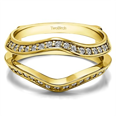 0.34 Ct. Open Knife Edge Wedding ring guard in Yellow Gold