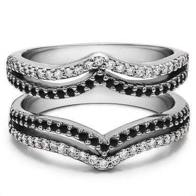 0.5 Ct. Black and White Stone Double Row Chevron Ring Guard