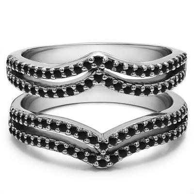 0.5 Ct. Black Stone Double Row Chevron Ring Guard