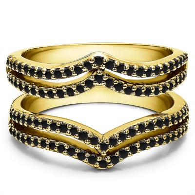 0.5 Ct. Black Stone Double Row Chevron Ring Guard in Yellow Gold