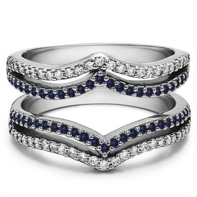 0.5 Ct. Sapphire and Diamond Double Row Chevron Ring Guard