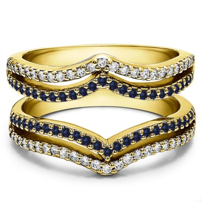 0.5 Ct. Sapphire and Diamond Double Row Chevron Ring Guard in Yellow Gold