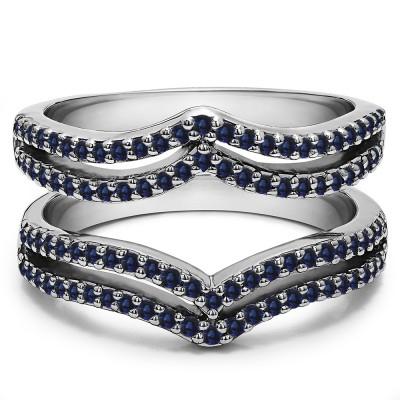 0.5 Ct. Sapphire Double Row Chevron Ring Guard