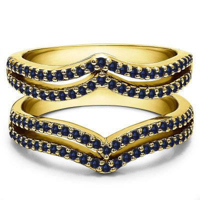 0.5 Ct. Sapphire Double Row Chevron Ring Guard in Yellow Gold