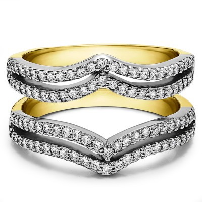 0.5 Ct. Double Row Chevron Ring Guard in Two Tone Gold