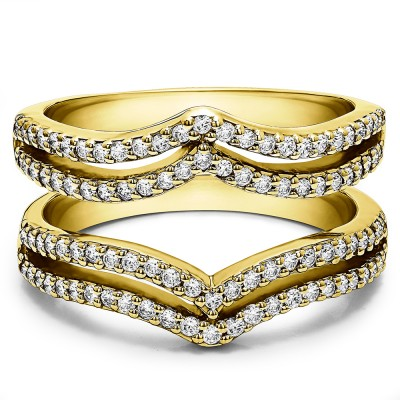 0.5 Ct. Double Row Chevron Ring Guard in Yellow Gold