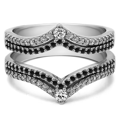 1.52 Ct. Black and White Stone Double Row Chevron Anniversary Ring Guard
