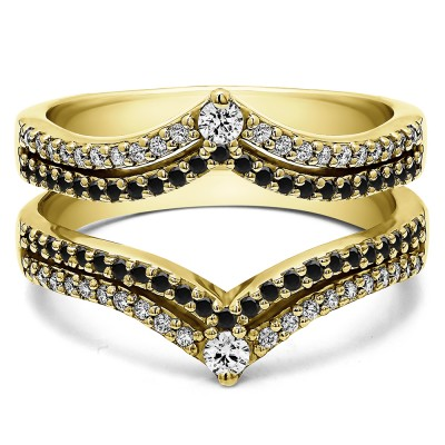 1.52 Ct. Black and White Stone Double Row Chevron Anniversary Ring Guard in Yellow Gold