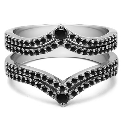 1.52 Ct. Black Stone Double Row Chevron Anniversary Ring Guard