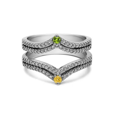 Genuine Birthstone Double Row Chevron Style Anniversary Ring Guard(0.53 Carat)