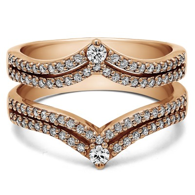 1.52 Ct. Double Row Chevron Anniversary Ring Guard in Rose Gold