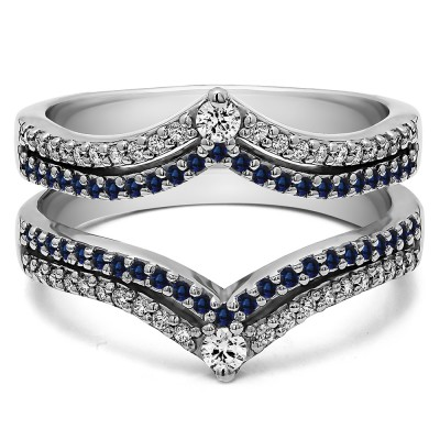 1.52 Ct. Sapphire and Diamond Double Row Chevron Anniversary Ring Guard
