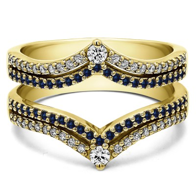1.52 Ct. Sapphire and Diamond Double Row Chevron Anniversary Ring Guard in Yellow Gold
