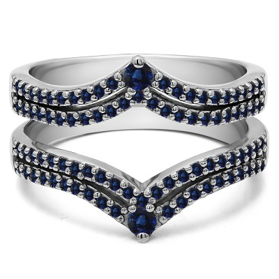 1.52 Ct. Sapphire Double Row Chevron Anniversary Ring Guard
