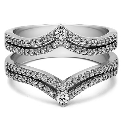 0.53 Ct. Double Row Chevron Anniversary Ring Guard