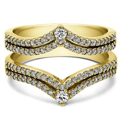 1.52 Ct. Double Row Chevron Anniversary Ring Guard in Yellow Gold