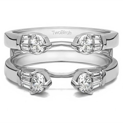 0.8 Ct. Three Stone Cathedral Ring Guard With Cubic Zirconia Mounted in Sterling Silver (Size 4.25)