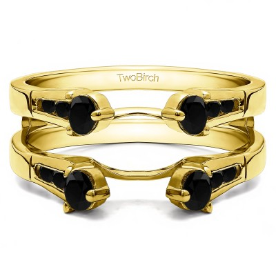 0.75 Ct. Black Stone Cathedral Three Stone Ring Guard in Yellow Gold