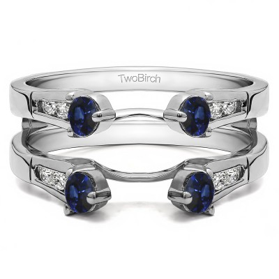 0.75 Ct. Sapphire and Diamond Cathedral Three Stone Ring Guard
