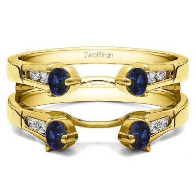 0.75 Ct. Sapphire and Diamond Cathedral Three Stone Ring Guard in Yellow Gold