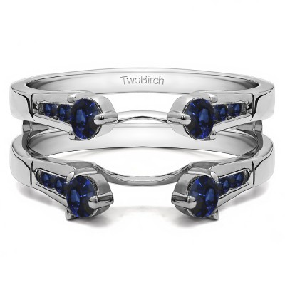 0.75 Ct. Sapphire Cathedral Three Stone Ring Guard