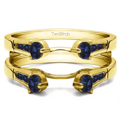 0.75 Ct. Sapphire Cathedral Three Stone Ring Guard in Yellow Gold