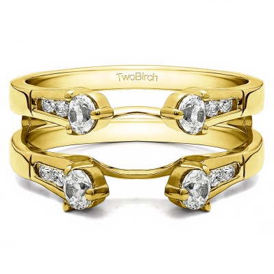 0.75 Ct. Cathedral Three Stone Ring Guard in Yellow Gold