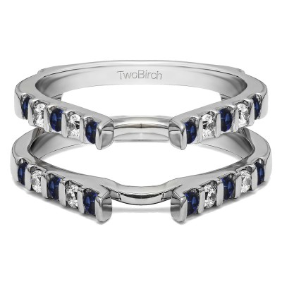 0.5 Ct. Sapphire and Diamond Cathedral Bar Set Wedding Ring Guard