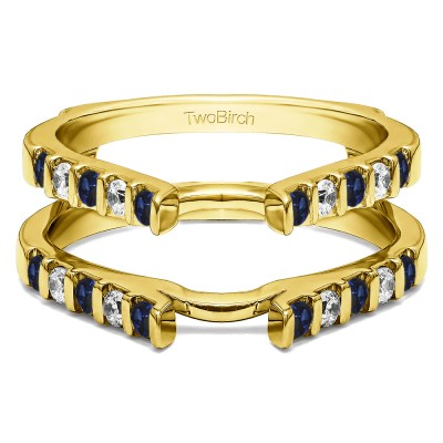 0.5 Ct. Sapphire and Diamond Cathedral Bar Set Wedding Ring Guard in Yellow Gold