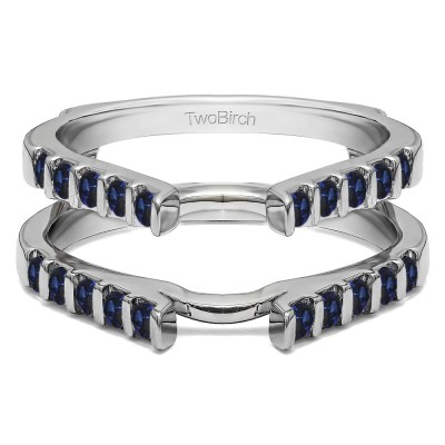 0.5 Ct. Sapphire Cathedral Bar Set Wedding Ring Guard