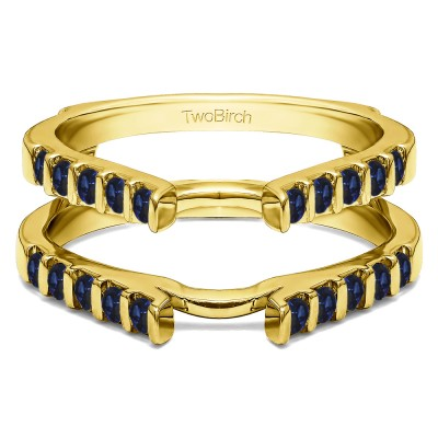 0.5 Ct. Sapphire Cathedral Bar Set Wedding Ring Guard in Yellow Gold
