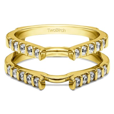 0.5 Ct. Cathedral Bar Set Wedding Ring Guard in Yellow Gold