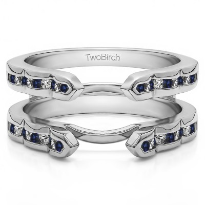 0.4 Ct. Sapphire and Diamond Wave Cathedral Channel Set Ring Guard