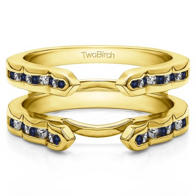 0.4 Ct. Sapphire and Diamond Wave Cathedral Channel Set Ring Guard in Yellow Gold