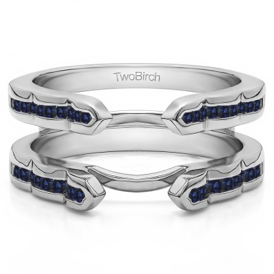0.4 Ct. Sapphire Wave Cathedral Channel Set Ring Guard