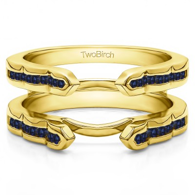0.4 Ct. Sapphire Wave Cathedral Channel Set Ring Guard in Yellow Gold
