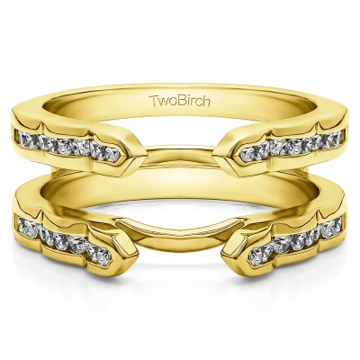 0.4 Ct. Wave Cathedral Channel Set Ring Guard in Yellow Gold
