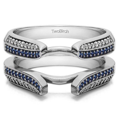 0.4 Ct. Sapphire and Diamond Double Row Cathedral Ring Guard