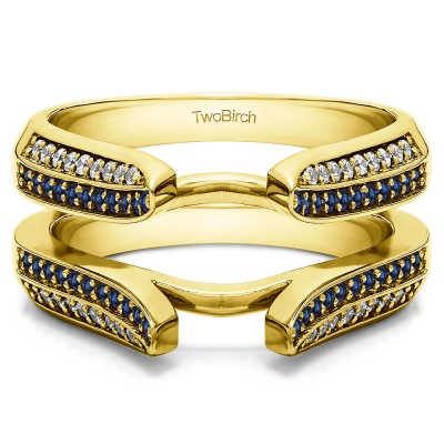 0.4 Ct. Sapphire and Diamond Double Row Cathedral Ring Guard in Yellow Gold