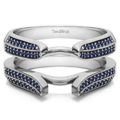 0.4 Ct. Sapphire Double Row Cathedral Ring Guard