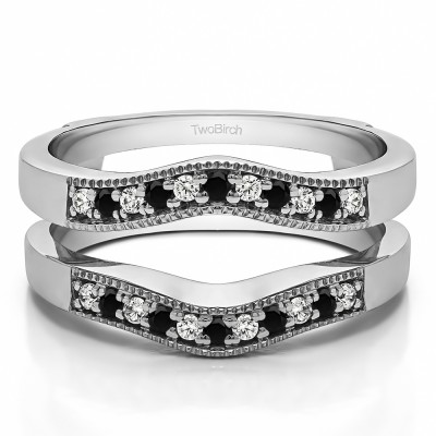 0.26 Ct. Black and White Stone Contour Prong In Channel Wedding Ring Guard