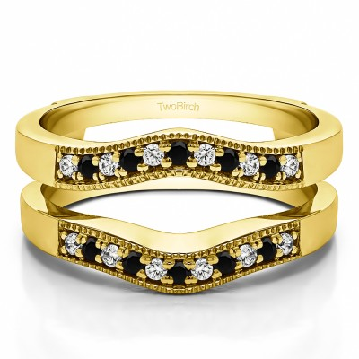 0.26 Ct. Black and White Stone Contour Prong In Channel Wedding Ring Guard in Yellow Gold