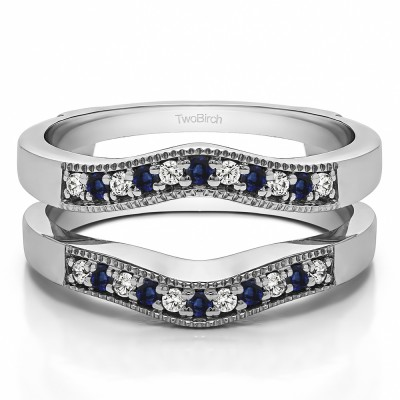 0.26 Ct. Sapphire and Diamond Contour Prong In Channel Wedding Ring Guard