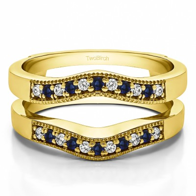 0.26 Ct. Sapphire and Diamond Contour Prong In Channel Wedding Ring Guard in Yellow Gold