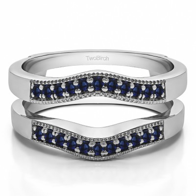 0.26 Ct. Sapphire Contour Prong In Channel Wedding Ring Guard