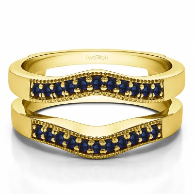 0.26 Ct. Sapphire Contour Prong In Channel Wedding Ring Guard in Yellow Gold
