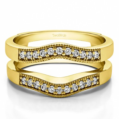 0.26 Ct. Contour Prong In Channel Wedding Ring Guard in Yellow Gold